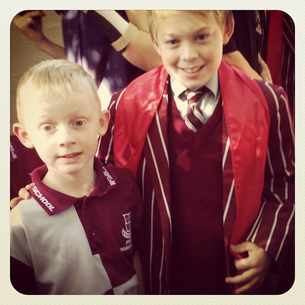 Ben and his year 6 Class Buddy Will at the year 6 School Leaders Assembly.