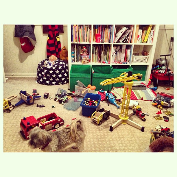 Sick little man home from school today. He has been quietly playing in his room most of the morning....toy explosion xo