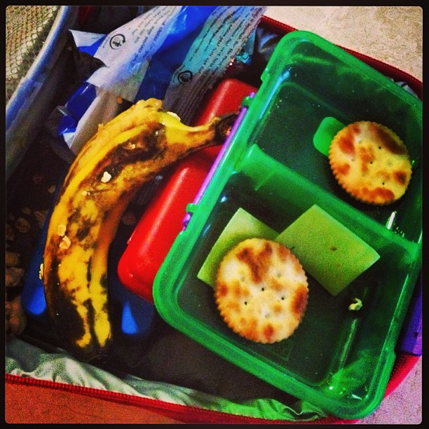 Inside Ben's lunchbox after school today!! Did he jump on it ewww!