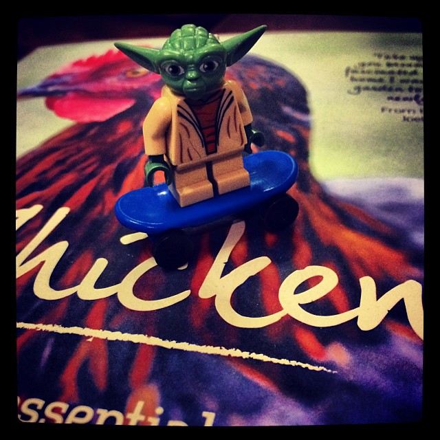 Ben left me a skate boarding Jedi to assist me with my Chicken research xxx