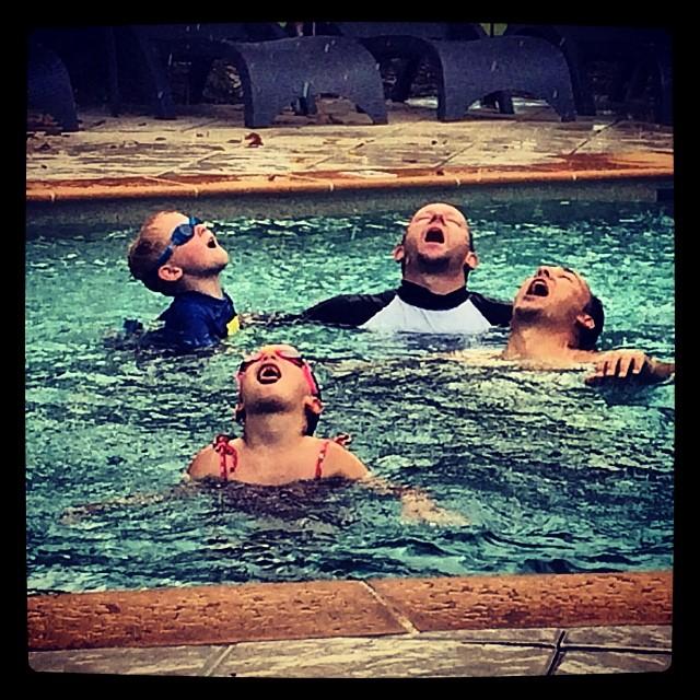 Crazy bunch of Lattimore's drinking the rain!