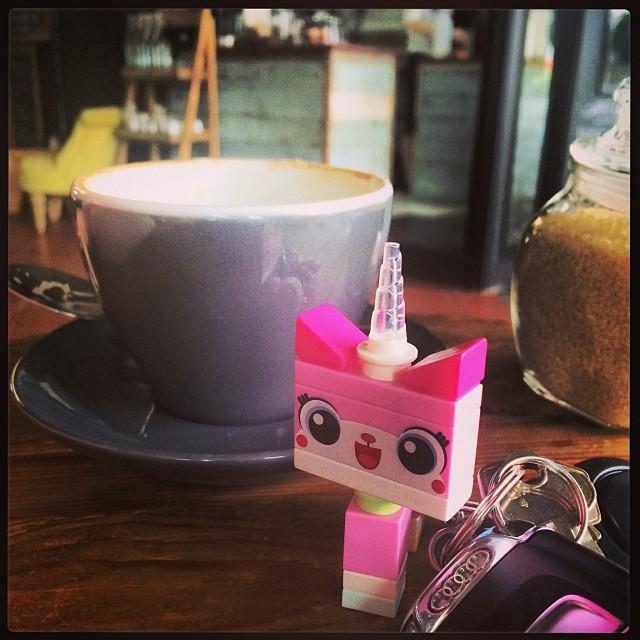 Unikitty and I have a new fav coffee shop! Mmmm chai and banana bread......