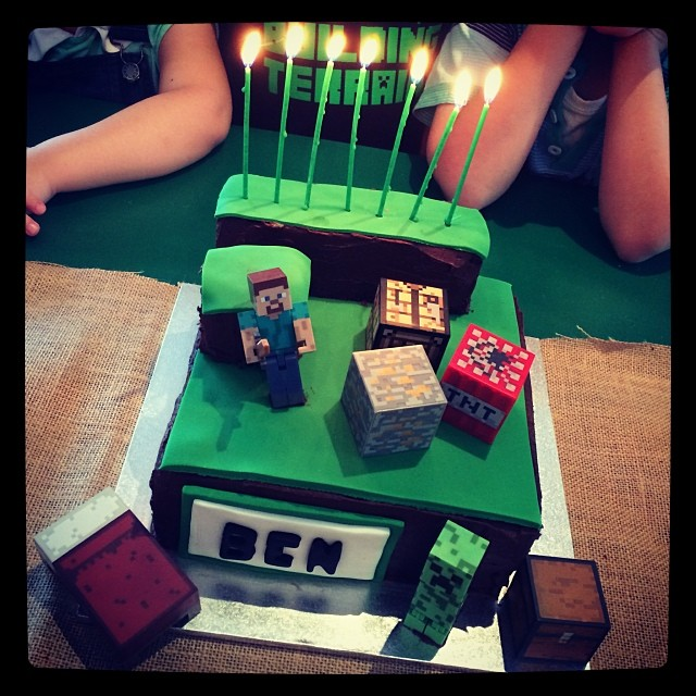 Mindcraft cake..... Yummo! Thanks Anna for your fabulous cake making !!