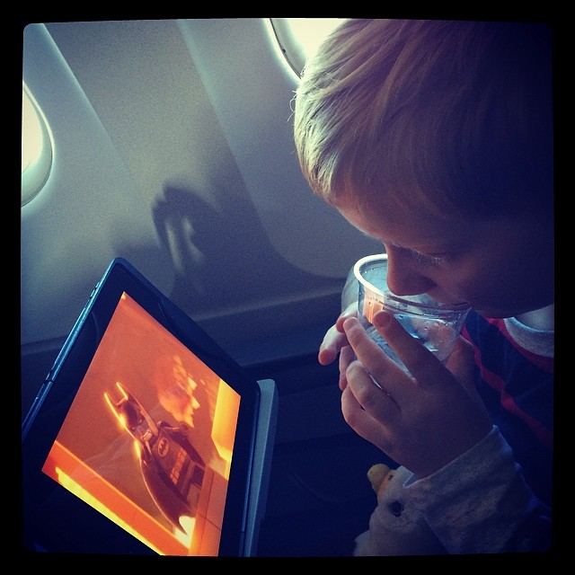 Lego Movie on the plane. I didn't hear boo from him xx