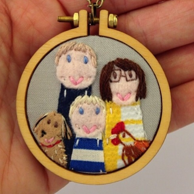 @dandelyne  has done it again! Son is an amazing talent!! This is my birthday present from Ben. My family portrait necklace. LOVE