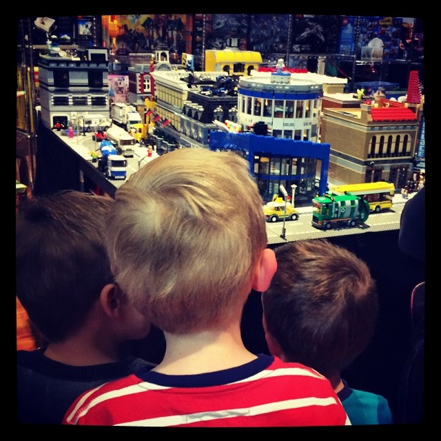 Excited little people and lots of LEGO