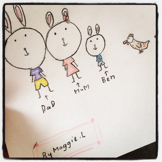 My clever niece Maggie drew us as a bunny family.....SO CUTE XX