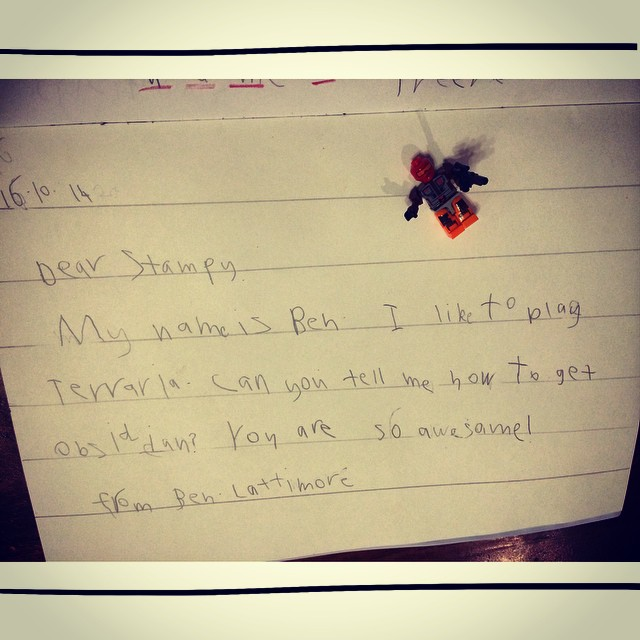 Ben's letter to Stampy. His fav gamer.