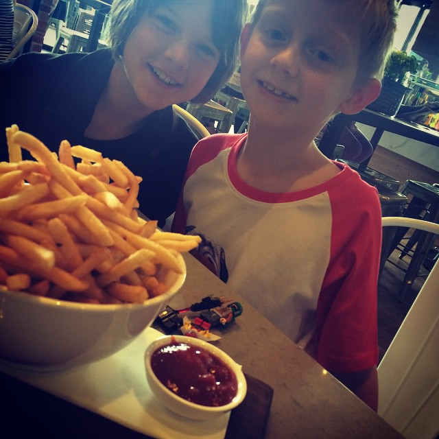 The bowl fries is bigger than their heads! It's our last day with this beautiful girl xx