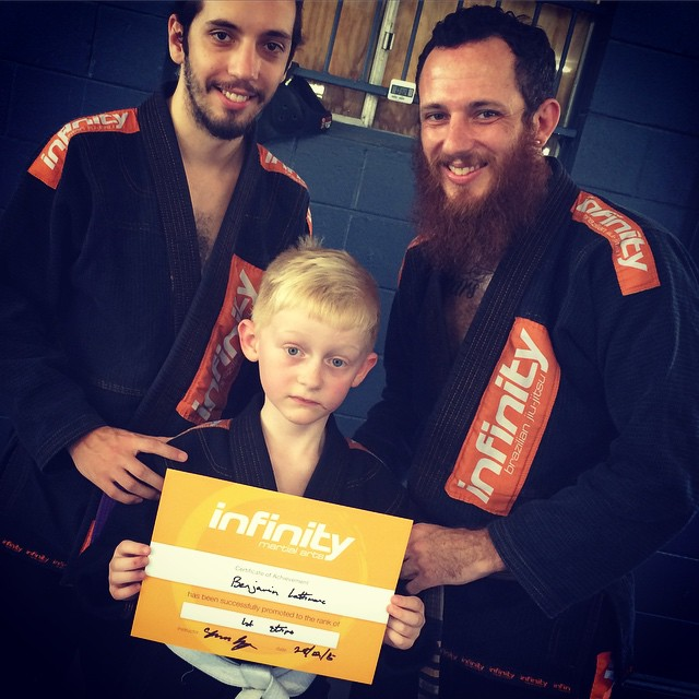 Coach Sam, Coach Shannon and Ben. Ben's first Jujitsu grading ROCKED!!