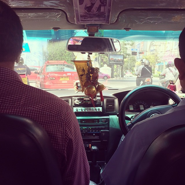 Thai taxi - no seat belts, horns a beeping and they keep asking is for directions (I just want to go to the expat supermarket )