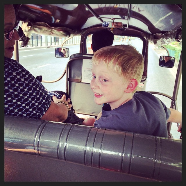 This little guy didn't see much of Bangkok during our quick trip to find a school and an apartment. We did squeeze in a Tuk Tuk ride.