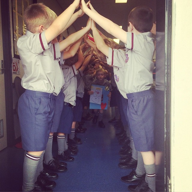 The boys formed a Guard of Honour to farewell Ben this afternoon xx