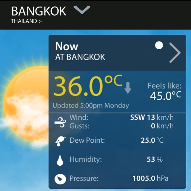And the temperature on the verandah .......note the 'feels like 45 degrees'. Indeed it does!!!