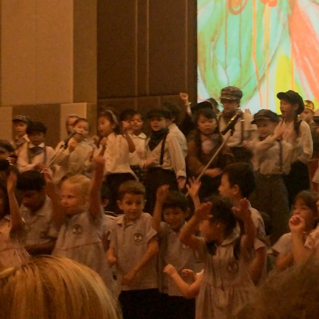 AISB - Ben's whole school. Lovely way to finish the concert. Can you spot him?
