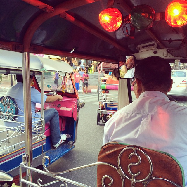Taking a Tuk Tuk home.....the traffic is NUTS!