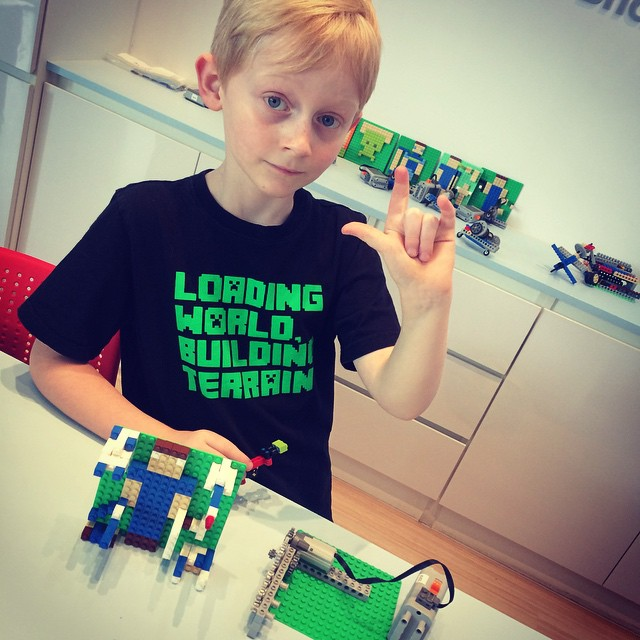 Minecraft week at Lego summer camp (have no idea what that hand gesture means....I'm so not cool!)