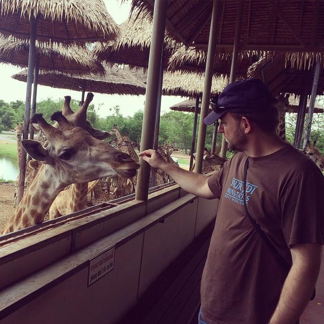 We went 'tourist' today. We met some locals. Andrew's making friends.