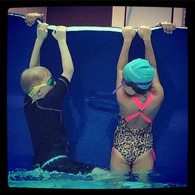 Ben loves his new swimming lessons
