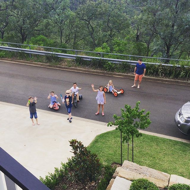 Home in Australia !!! Ben out playing with all of his cousins ️