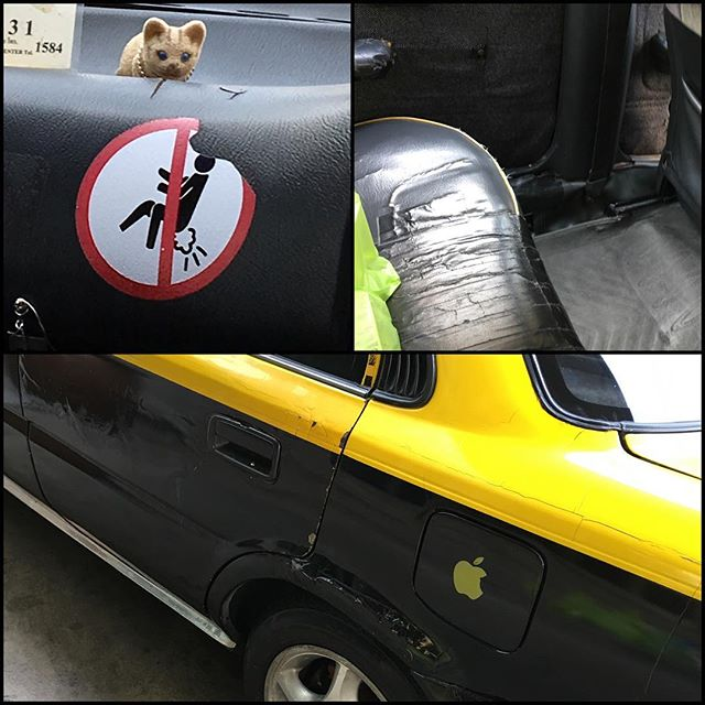 Ok I've been told I haven't been taking enough photos of our time in Thailand. This was my taxi today. It was held together with duct tape and putty. I thought the sticker was rather amusing as many Thai taxis have a unique smell anyways