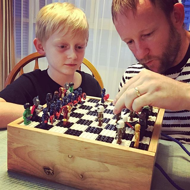 Birthday Chess! Ben totally beat his Dad!
