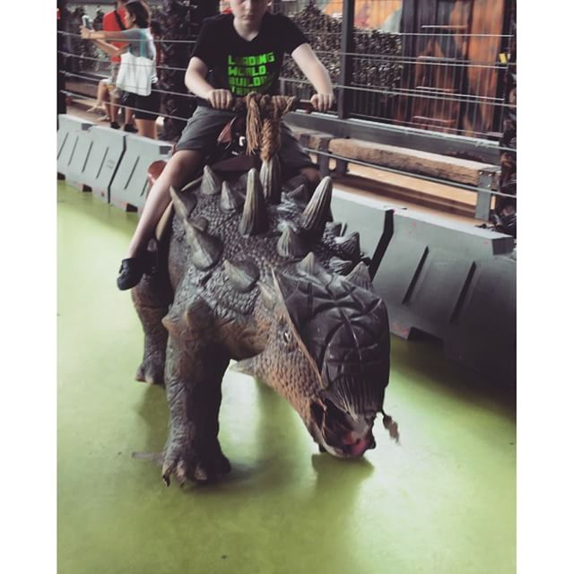 Riding some dinosaurs