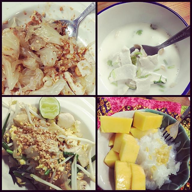 What we cooked today - Yam Som o (Pomelo Salad), Tom Kha Gai (Coconut Soup with Chicken), Phad Thai, Cow Niaow Muang (Mango & Sticky Rice) #cookingwithpoo