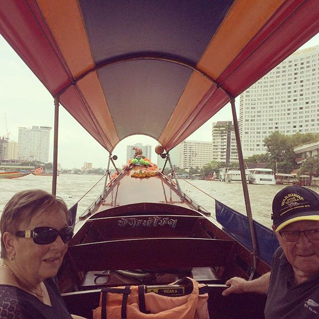 Jude & George touring in Bangkok. Andrew took them on a long tail boat
