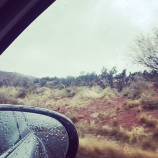 Morning! It's a bit rainy leaving Sedona. That noise. Is Ben hunting through the snacks in the back seat.