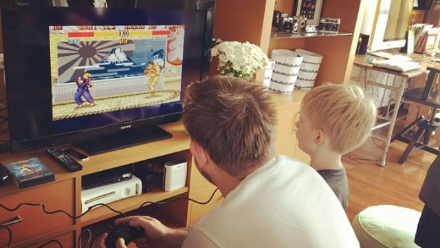 Andrew 's vintage purchase at the market - Sega Mega Drive 2. The little boys woke up this morning super excited. Street Fighter and Sonic old school fun!!!