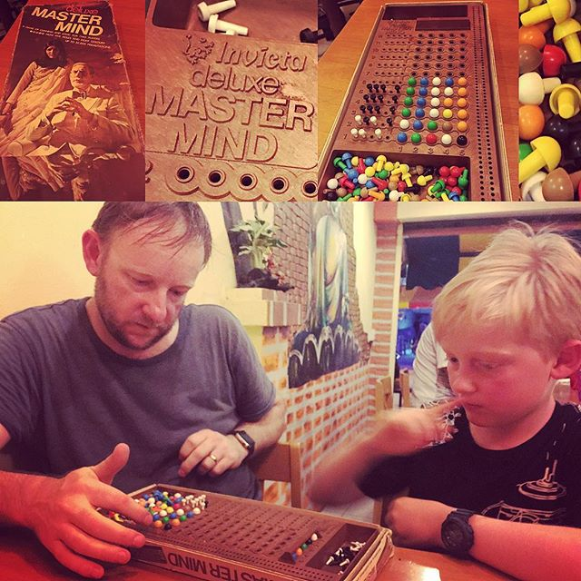 We found this gem in a pizzeria in Kanchanaburi Thailand. Andrew and I grew up playing Mastermind Deluxe with our families. Andrew taught Ben tonight. Family fun!