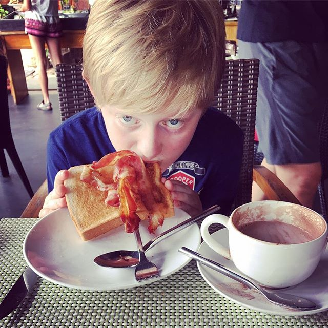 This is Bens idea of the best breakfast ever - hot chocolate and bacon