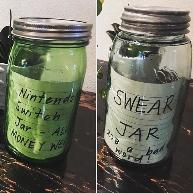 Ben's new money raising initiatives.  1. Nintendo Switch Jar - all money welcome (all cash gifts, pocket money or change Ben finds goes in here). 2. The swear jar -20 baht per bad word. Ben asked me to back pay 500 baht 🤣🤣🤣. He got home from school today and asked me if I had said any bad words. He put 20 baht in the jar just incase!!!