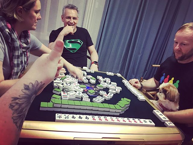 Some lovely friends taught us how to play Mahjong last night. I rocked it.....maybe it was beginners luck. 3/5 to me!!! Thanks for the lesson. We loved it