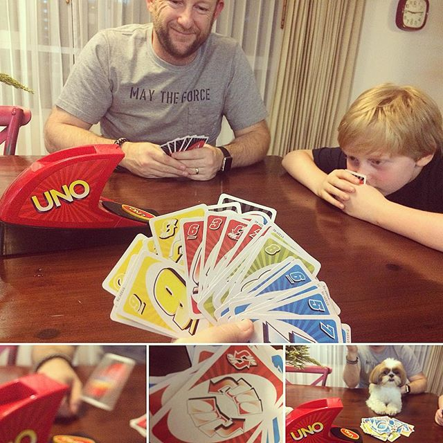 Family night at home tonight. Has anyone played UNO Attack before?We love UNO but UNO Attack is also great. Especially when it spits 6 cards at the winning player!!! There is even a couple of new cards. One that you can choose to swap your hand of cards with another player.  I owed the swear jar 60 baht by the end of the game. Clearly by the look of my hand I was not the winner 🤣