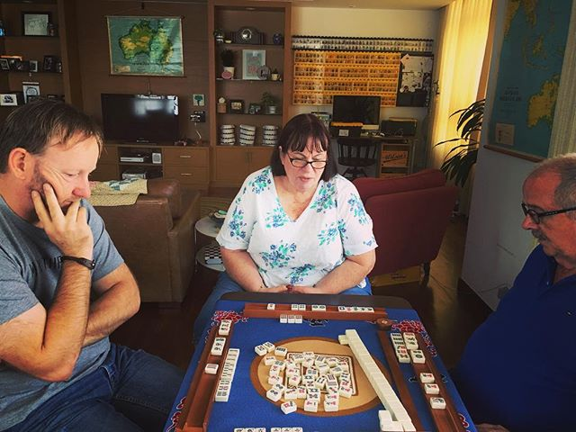 Mum and Dad are learning Mahjong xxx