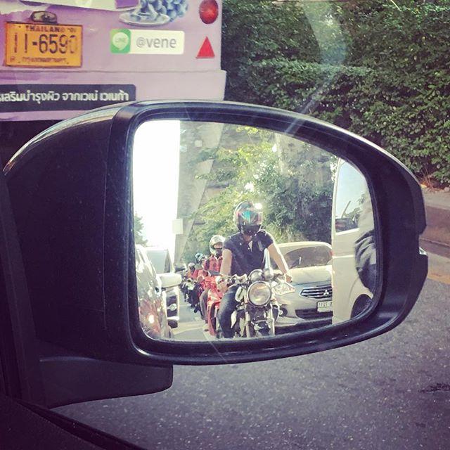 Motorbikes makes there own lane
