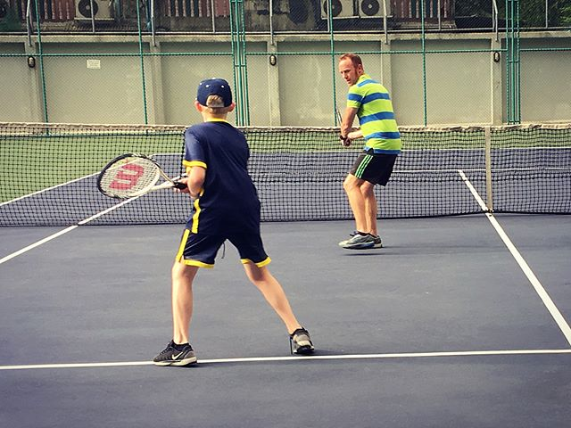 The boys first tennis lesson! Ben loved it. Their foot work can only improve ️