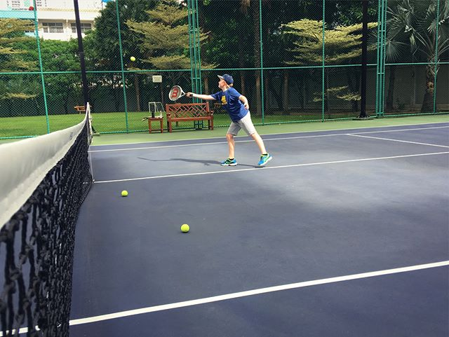 Morning tennis lesson with Ben and his Coach Mr Jonathan.  Such a beautiful morning!