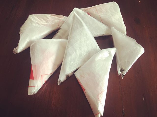 How cute is this? I'm totally hooked on folding my plastic bags like little samosas ️. We really do try to reduce plastic bag usage here in Bangkok. Unfortunately even when I ask for no plastic bags my grocery order is delivered in recycle bags full of groceries in plastic bags . However we always reuse them. Anyone who follows @_thisgirlcanorganise already folds their plastic bags. She is totally addictive to follow. So  here are the steps to make these cute samosas 1.  Smooth bag flat.2. Fold bag in three.3. Fold a triangle on one end.4. Continue to fold triangles.  5. Tuck ends in fold 