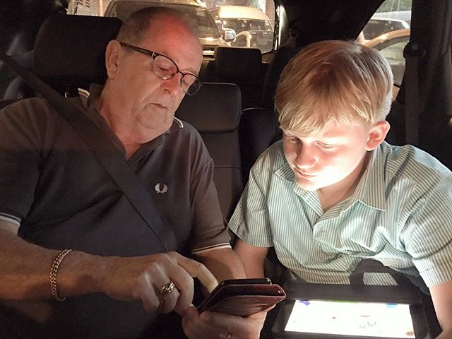 Stuck in Bangkok traffic - Grandad and Ben play puzzle games ️