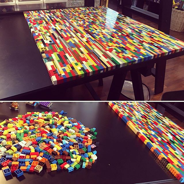 I'm making a LEGO table top for Ben's new room. I grossly underestimated the amount of blocks needed. That aside it is so much fun!